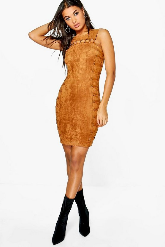 Boutique Jo Suedette Lace Up Bodycon Dress