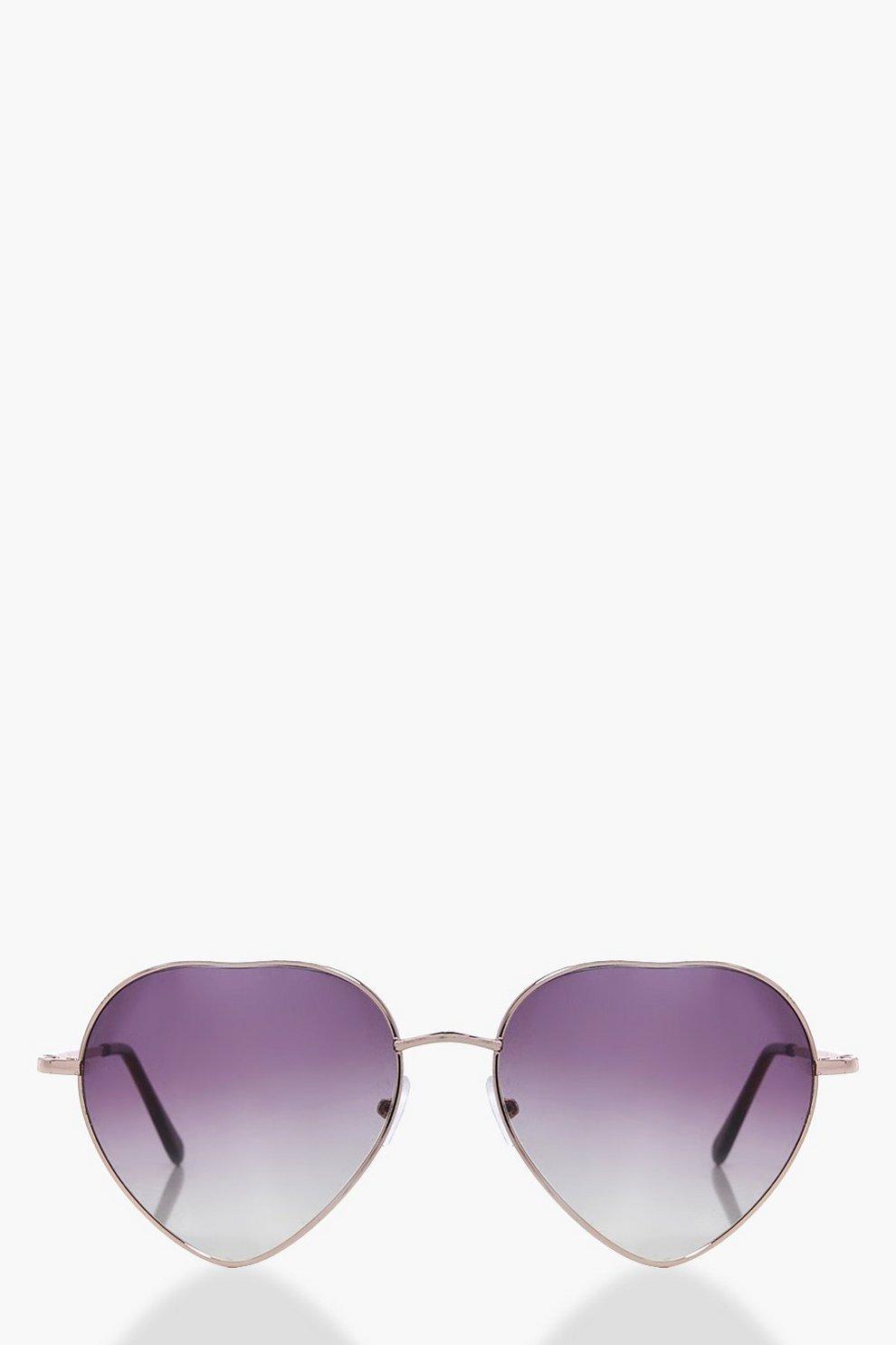 f86f136fff gafas de sol de corazón con lentes moradas sombreadas lola | Boohoo