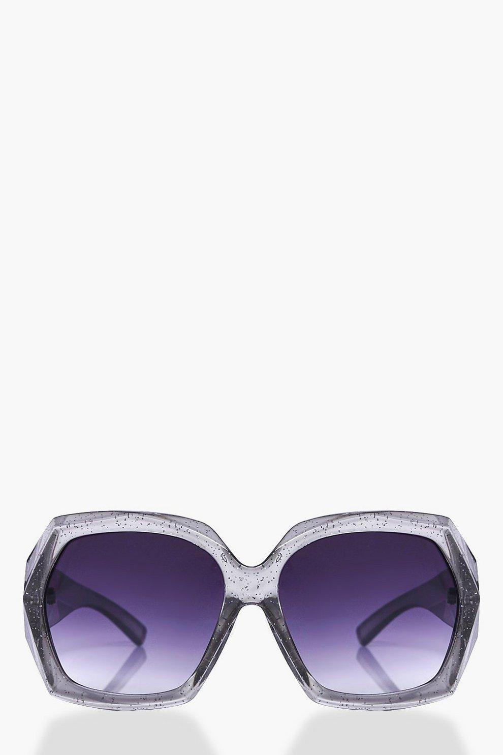 Maya Glitter Clear Frame Oversized Fashion Glasses | Boohoo