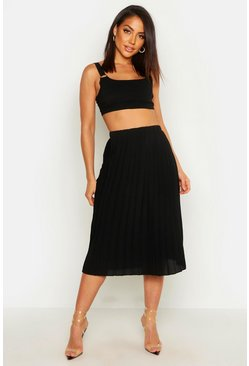 Womens Black Crepe Pleated Midi Skirt
