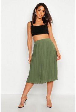 Womens Khaki Crepe Pleated Midi Skirt
