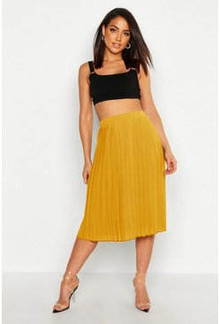 Womens Mustard Crepe Pleated Midi Skirt