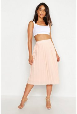Womens Nude Crepe Pleated Midi Skirt