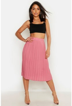 Rose Crepe Pleated Midi Skirt