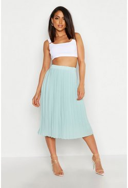 Sage Crepe Pleated Midi Skirt