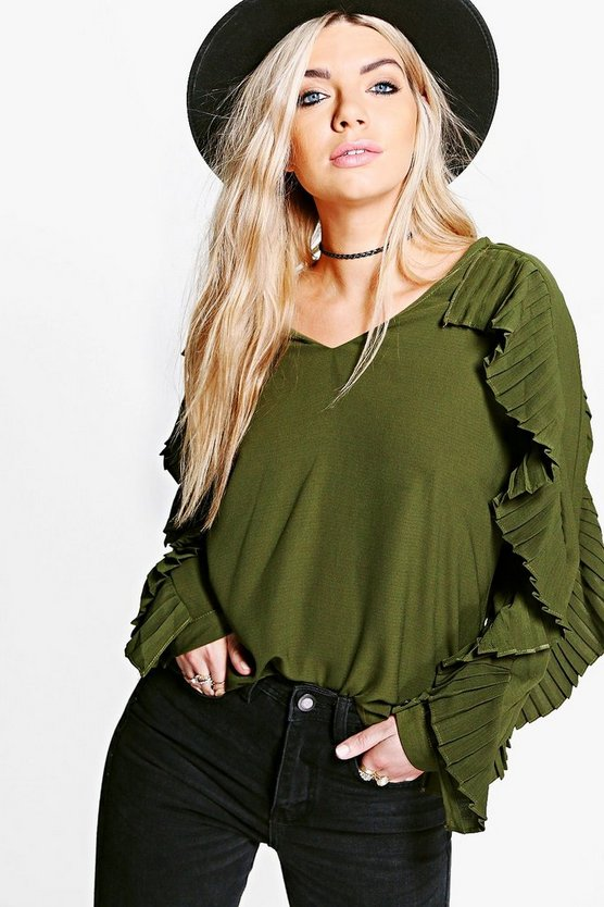 Womens Khaki Boutique Lucy Ruffle Sleeve Blouse