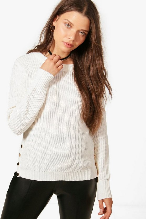 Holly Button Detail Fisherman Jumper