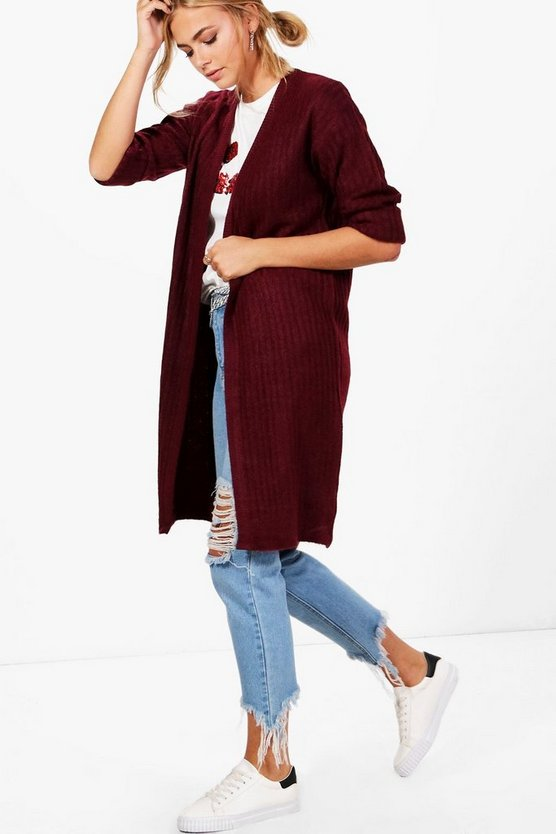 Berry Erin Rib Knit Midi Cardigan