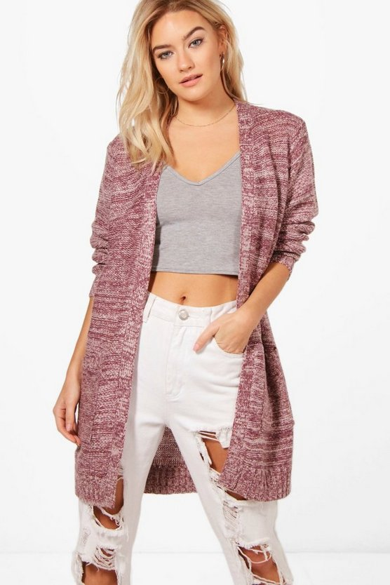 Plum Brooke Marl Edge To Edge Cardigan