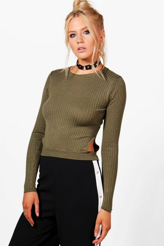 Rib Knit Jumper With Side Cut Outs