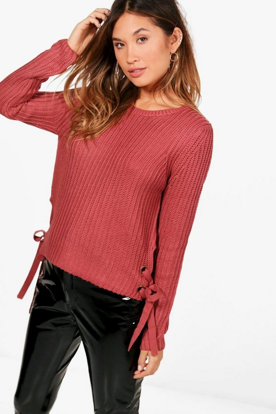 Sarah Rib Jumper With Eyelet Lace Up Side Detail