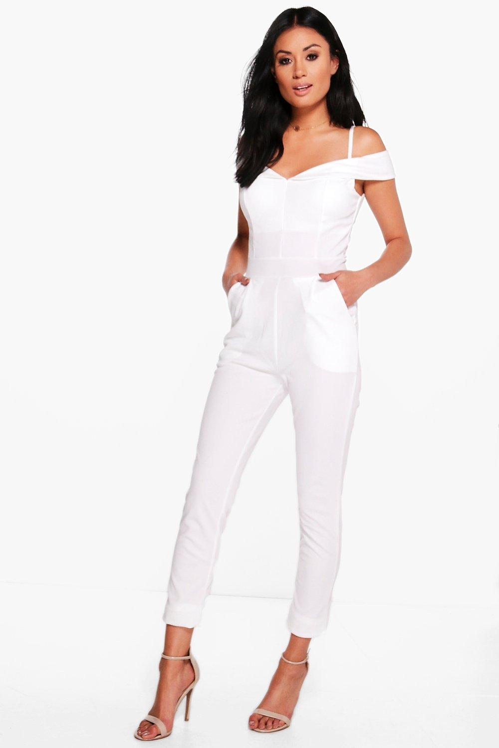 Erin Off The Shoulder Bardot Skinny Leg Jumpsuit