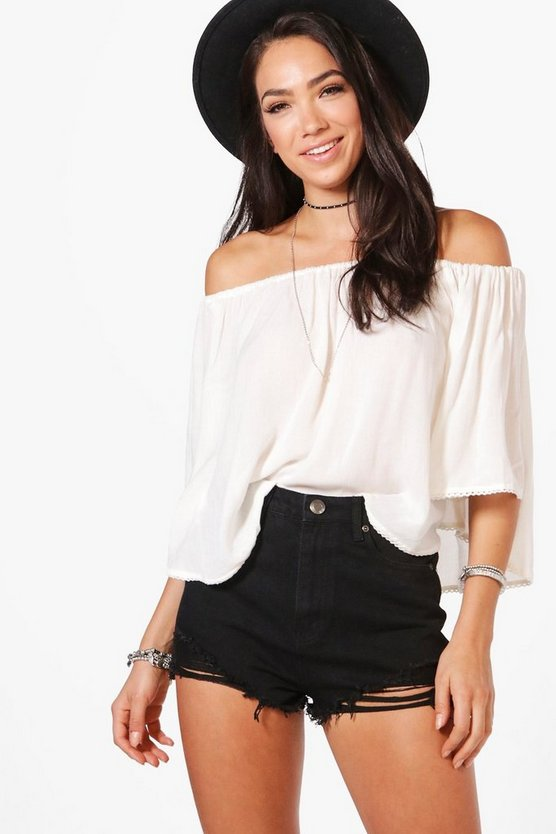 Carla Angled Distressed Denim Shorts