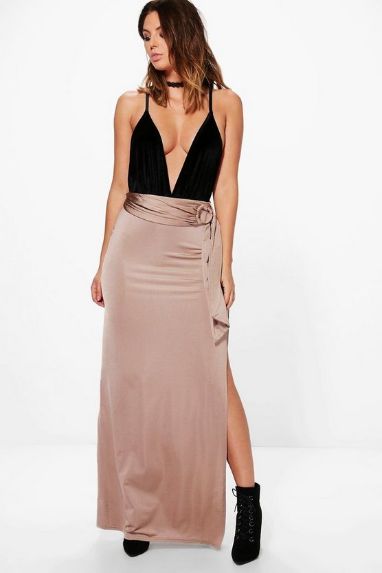 Samira O Ring Thigh Split Full Maxi Skirt