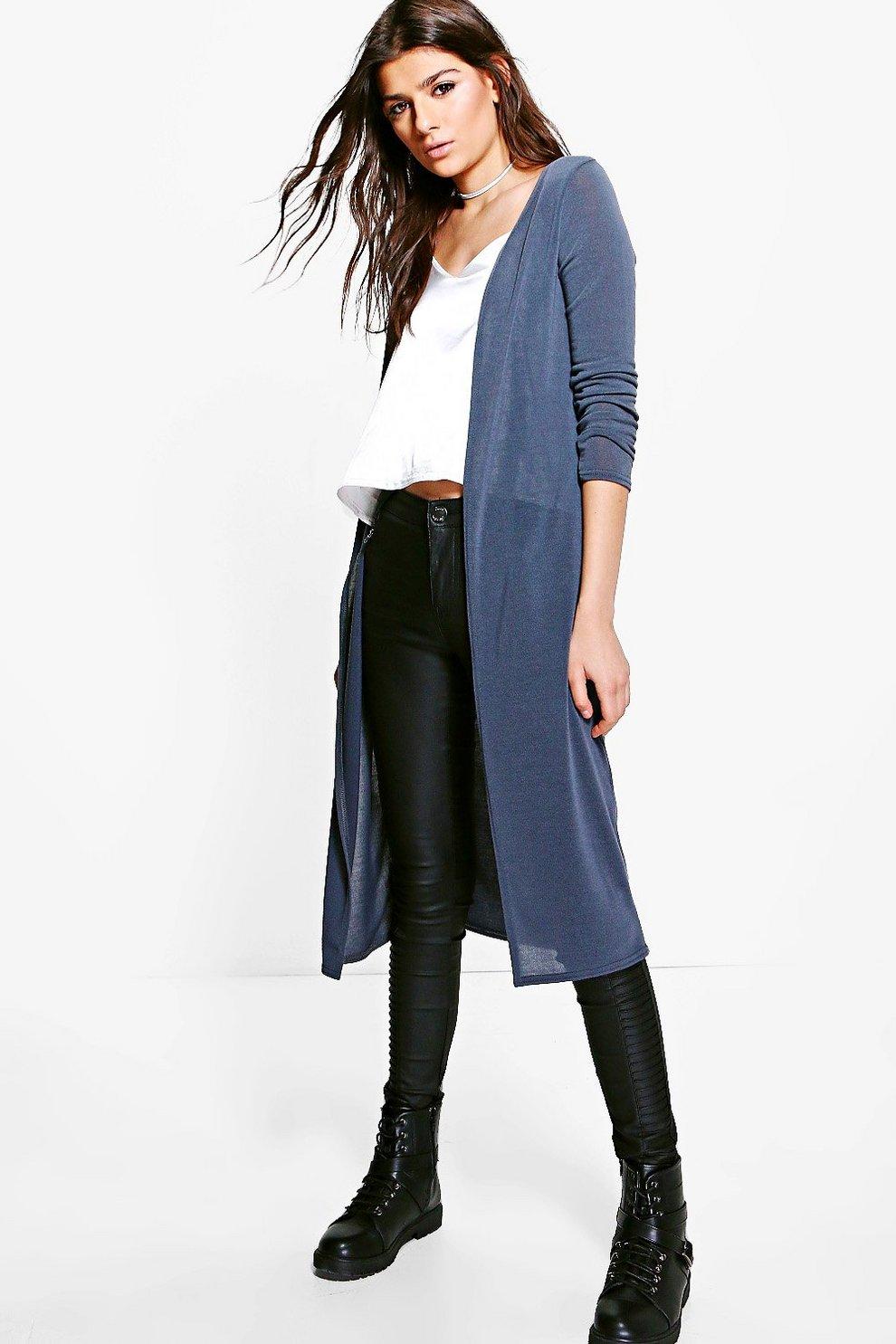 0f5413281b4 Womens Grey Maisie Fine Knit Maxi Cardigan