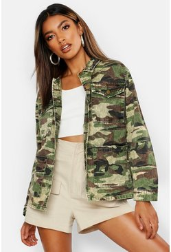 Womens Acid Wash Camo Denim Jacket