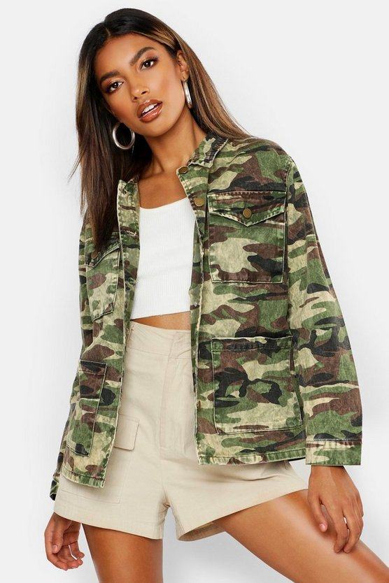 Acid Wash Camo Denim Jacket