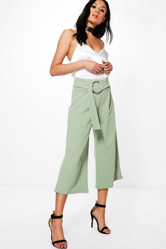 Livy O Ring Tie Waist Crepe Culottes