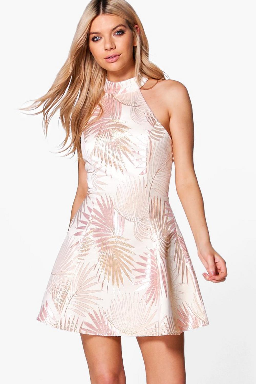 Boutique Dora Metallic Jacquard Skater Dress | Boohoo