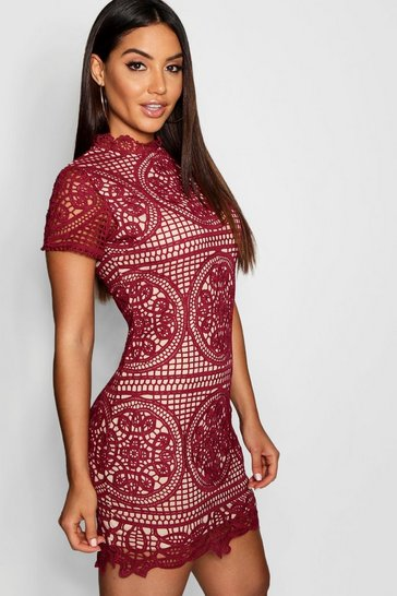 Womens Berry Boutique Crochet Lace Bodycon Dress