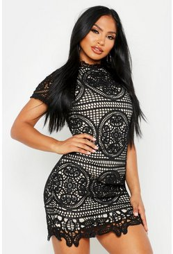 Black Boutique Crochet Lace Bodycon Dress