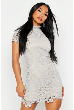 Womens Grey Boutique Crochet Lace Bodycon Dress