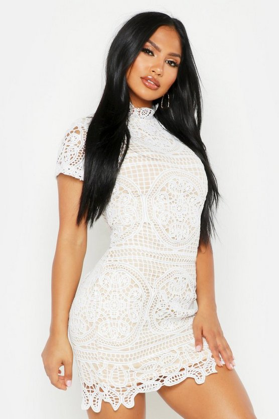 Womens Ivory Boutique Crochet Lace Bodycon Dress