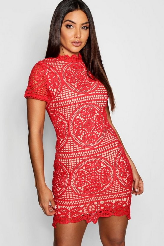 Red Boutique Crochet Lace Bodycon Dress