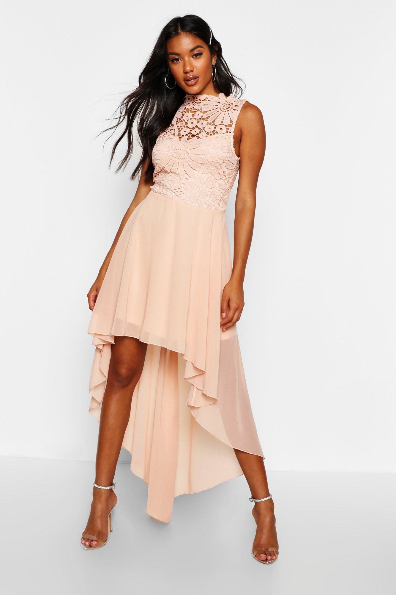 Boutique Lace & Chiffon Dip Hem Bridesmaid Dress, Pink