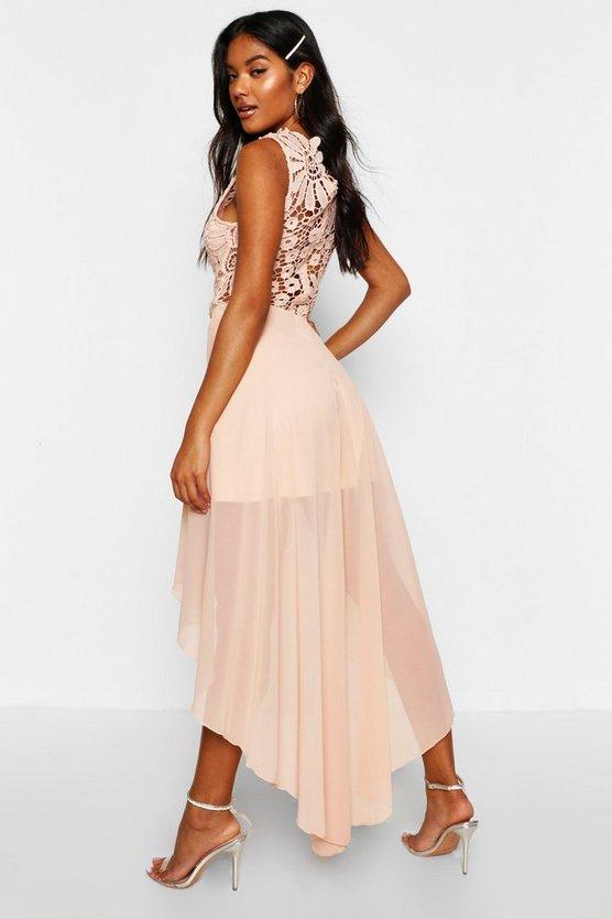 Boutique  Lace Top Chiffon Dip Hem Dress