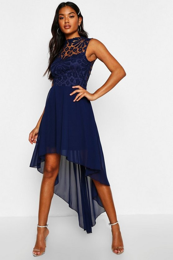 Boutique  Lace Top Chiffon Dip Hem Dress