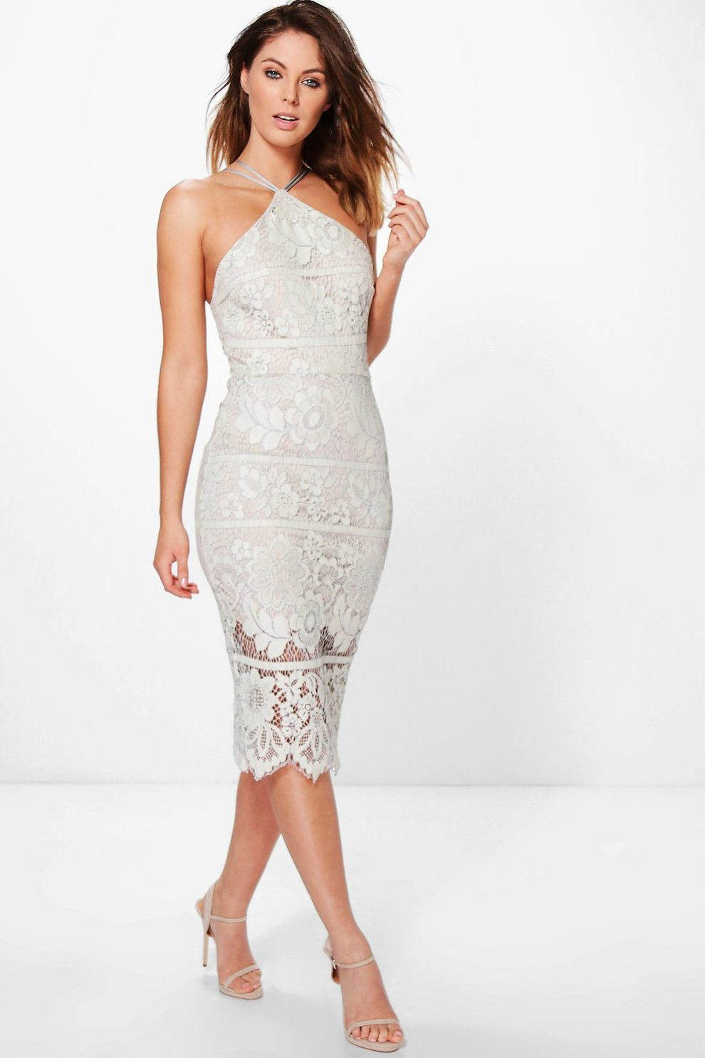 8aa9ffed3462 Boutique Lo Lace Strappy Midi Bodycon Dress | Boohoo