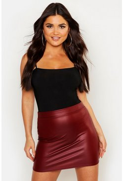 Womens Berry Matte Leather Look Stretch Mini Skirt