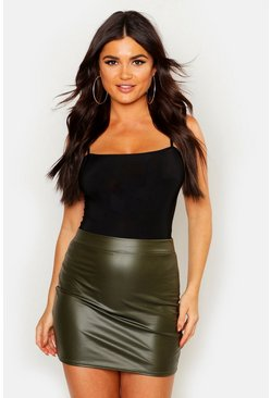 Womens Khaki Matte Leather Look Stretch Mini Skirt