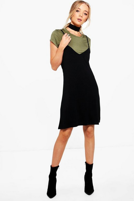 Womens Khaki Yasmin Choker Detail 2 in 1 Slip Dress