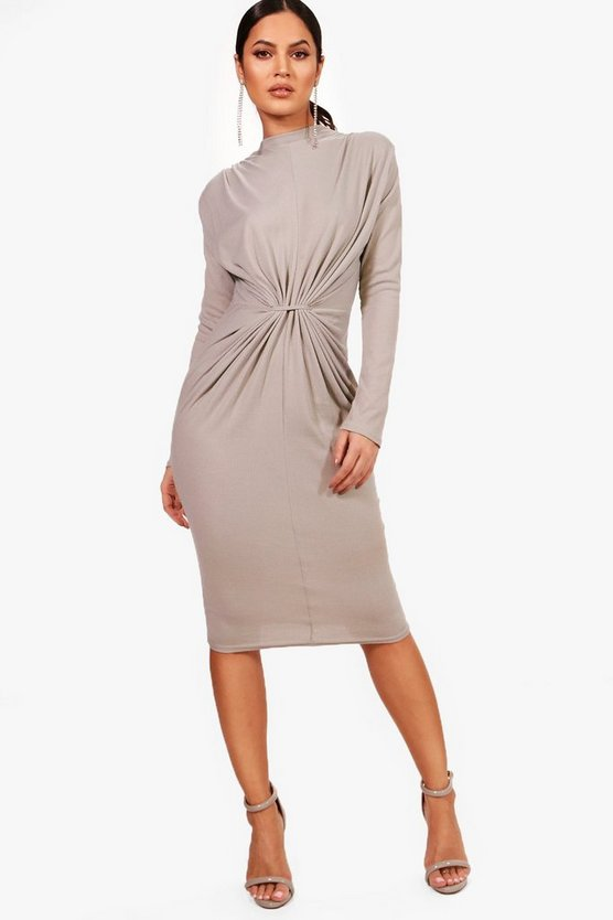 Rib Knot Front Bodycon Dress