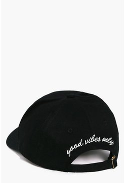 Cappellino da baseball con slogan good vibes only, Nero