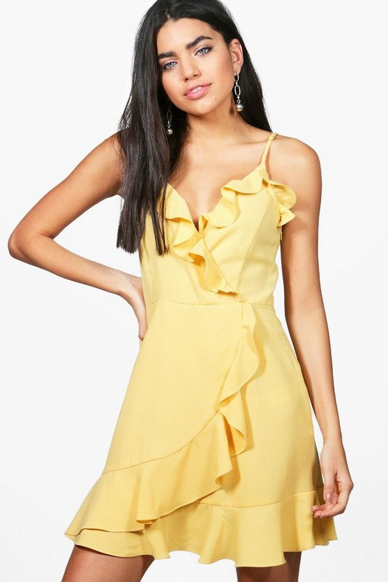 Hollie Strappy Frill Wrap Skater Dress