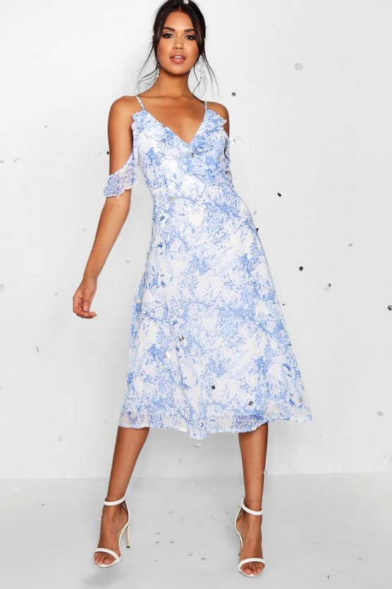 Chiffon Printed Midi Skater Dress