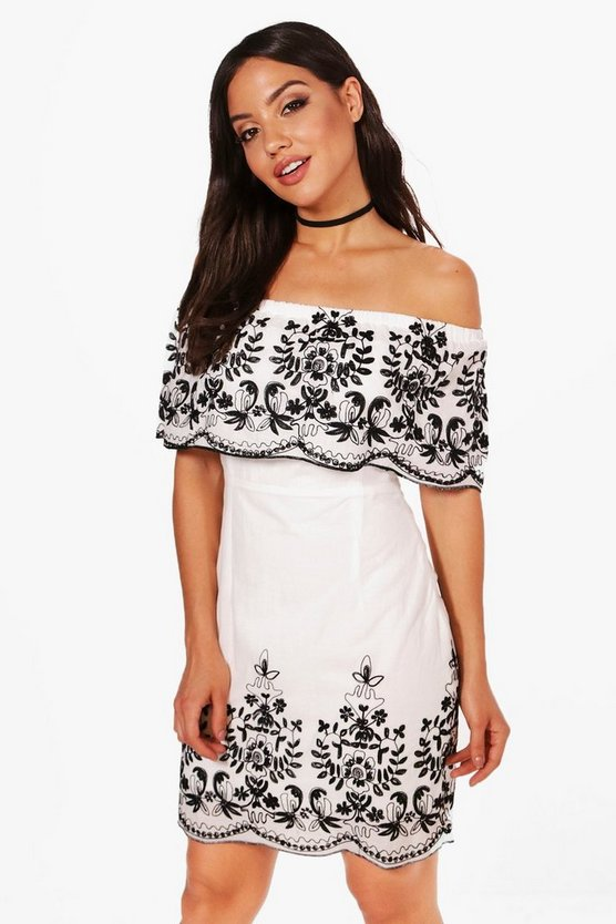 Charly Embroidered Hem Bodycon Dress