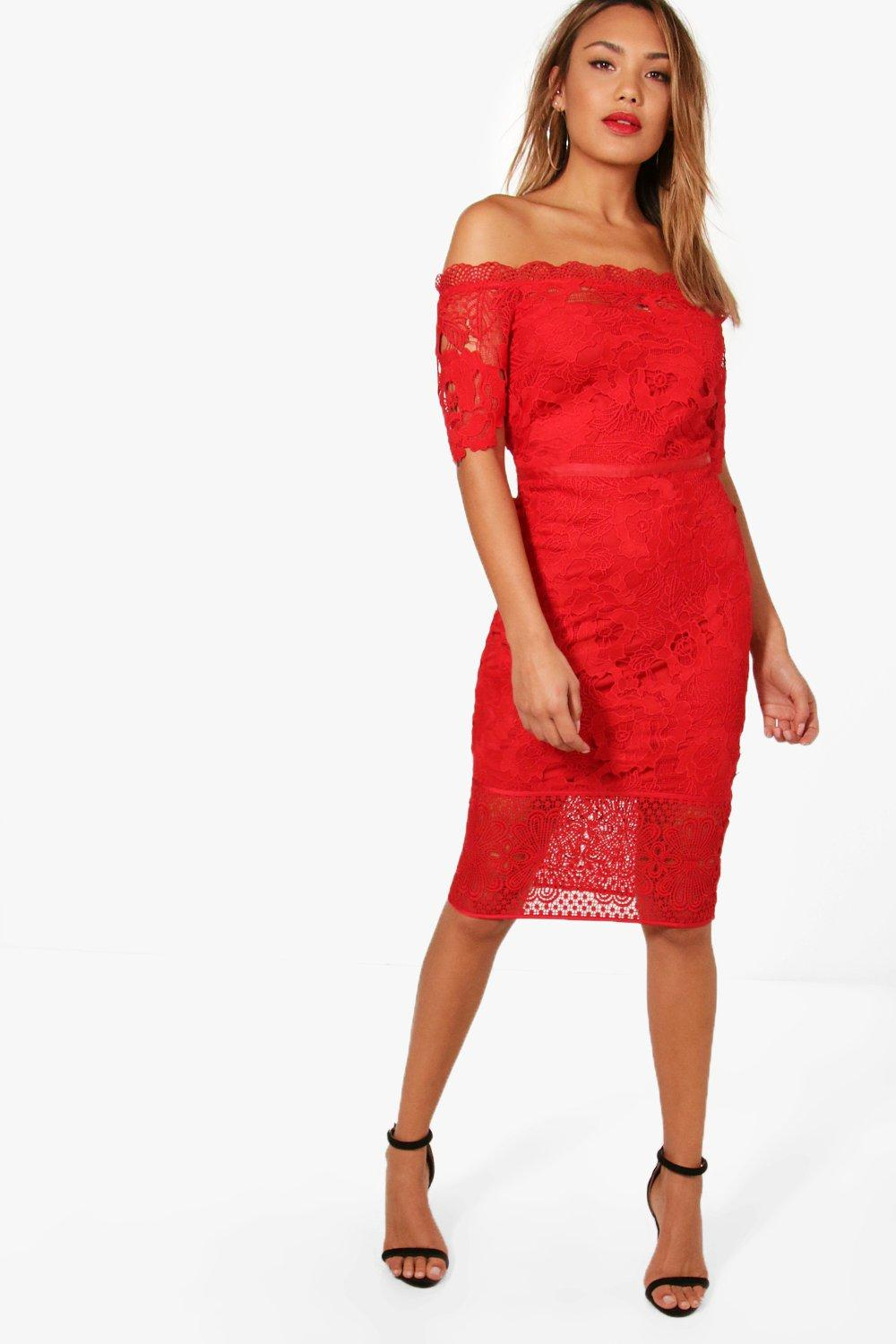 eec02376dc30 Womens Red Boutique Off Shoulder Lace Midi Dress. Hover to zoom
