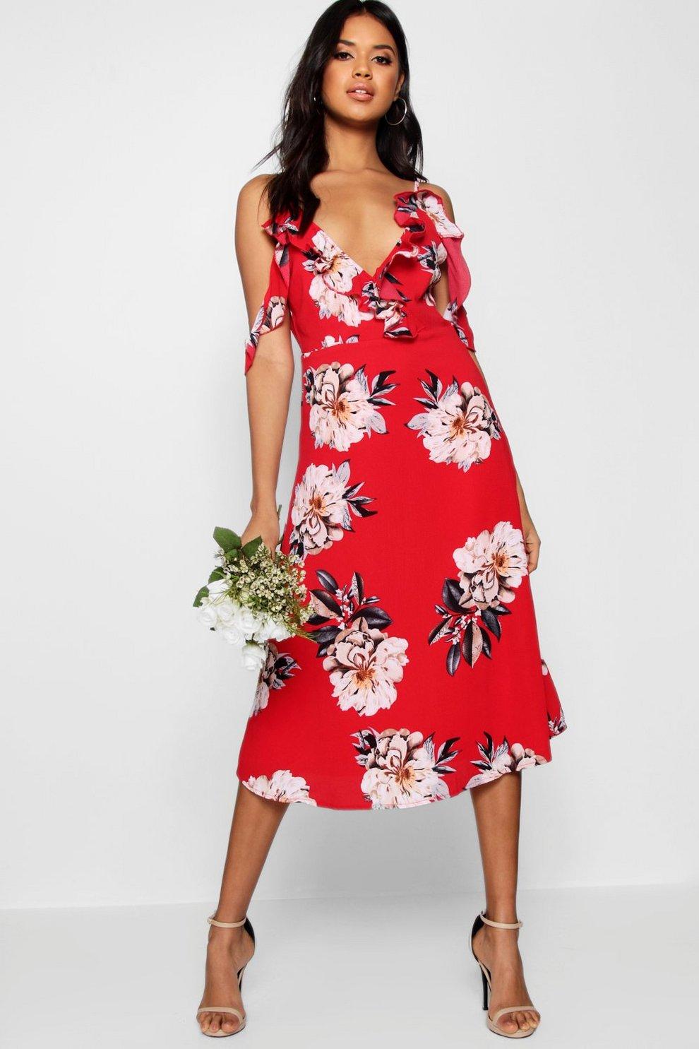 280a64f5d236 Floral Print Midi Skater Dress | Boohoo