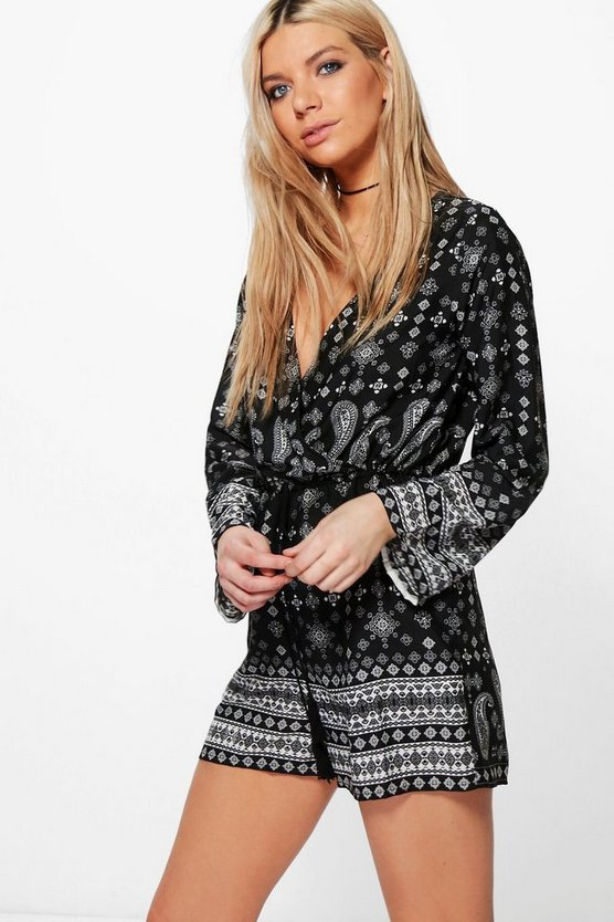 Isla Paisley Print Wrap Front Playsuit