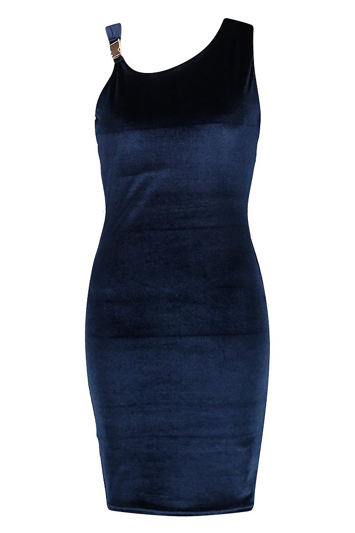 BOOHOO Ariana Stretch Velvet Bodycon Dress Navy  size XS