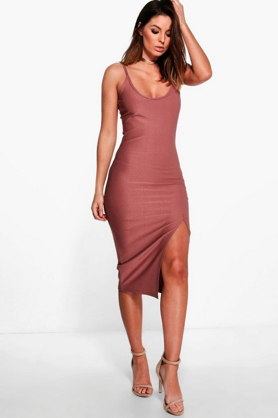 Textured Slinky Strappy Split Midi Dress
