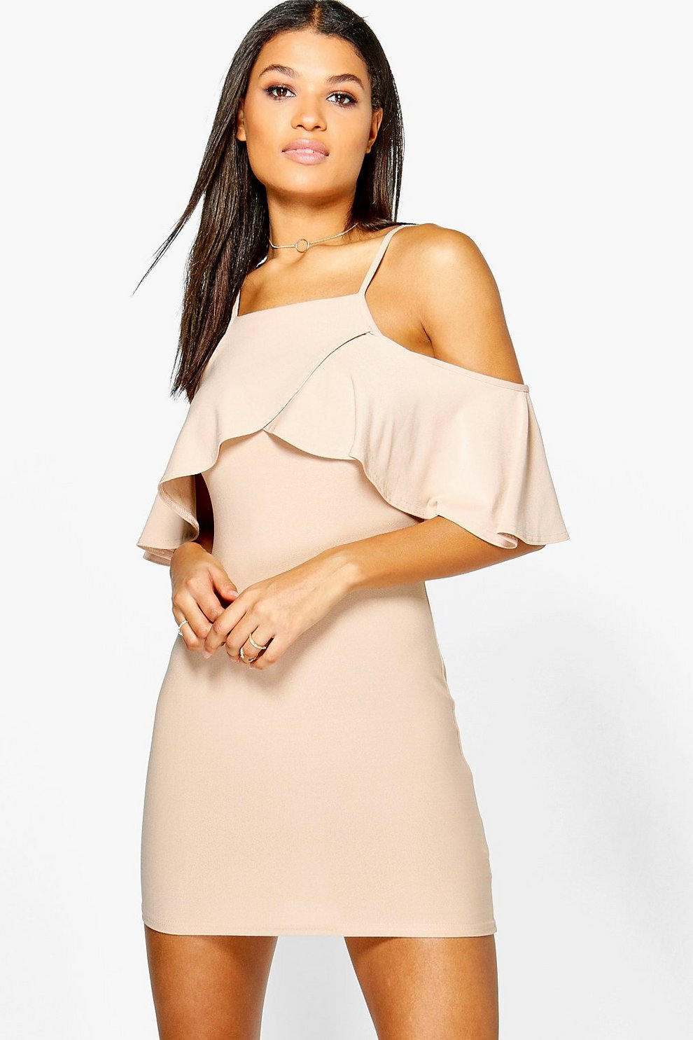 a2c9306045b5 Jesca Frill Cold Shoulder Bodycon Dress | Boohoo
