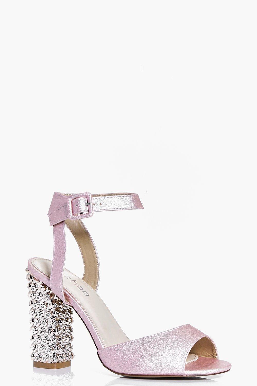 d29f6bb52310 Martha Bridal Embellished Heel Peeptoe Sandals. Hover to zoom