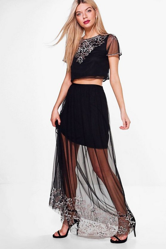 Boutique Mesh Embellished Skirt & Crop Co-Ord