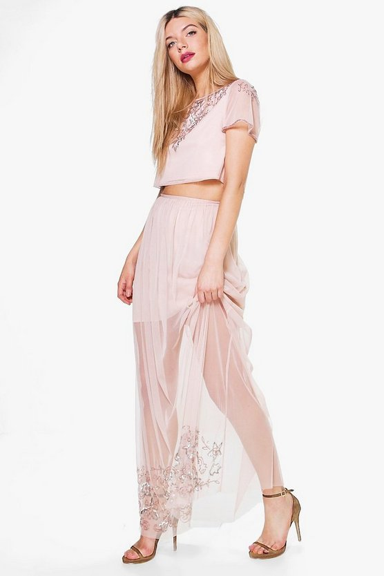Izzy Boutique Mesh Embellished Skirt & Crop Co-Ord