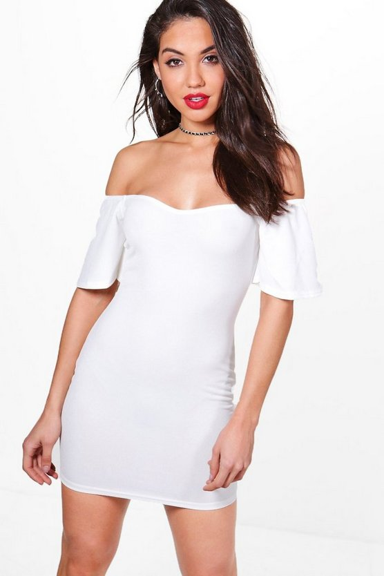 Off Shoulder Frill Bodycon Dress